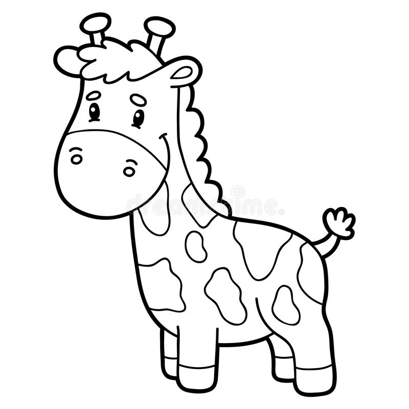 coloring page cartoon giraffe vector illustration cute character children