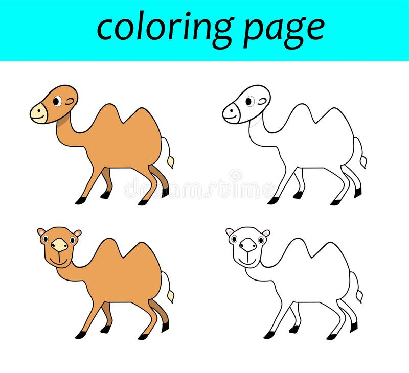 Coloring page. Cartoon illustration of camel for coloring book vector illustration