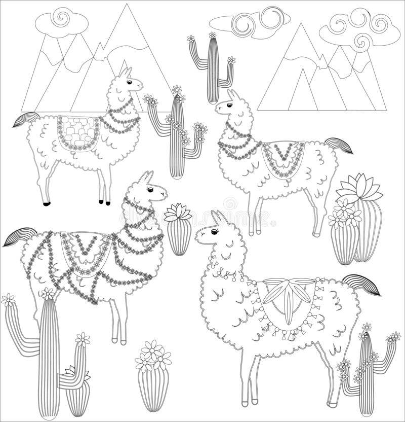 Cute Outline Doodle Llama With Hand Drawn Elements Stock Vector ... | 832x800