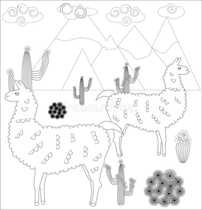 coloring page cartoon lama illustration book kids adults children