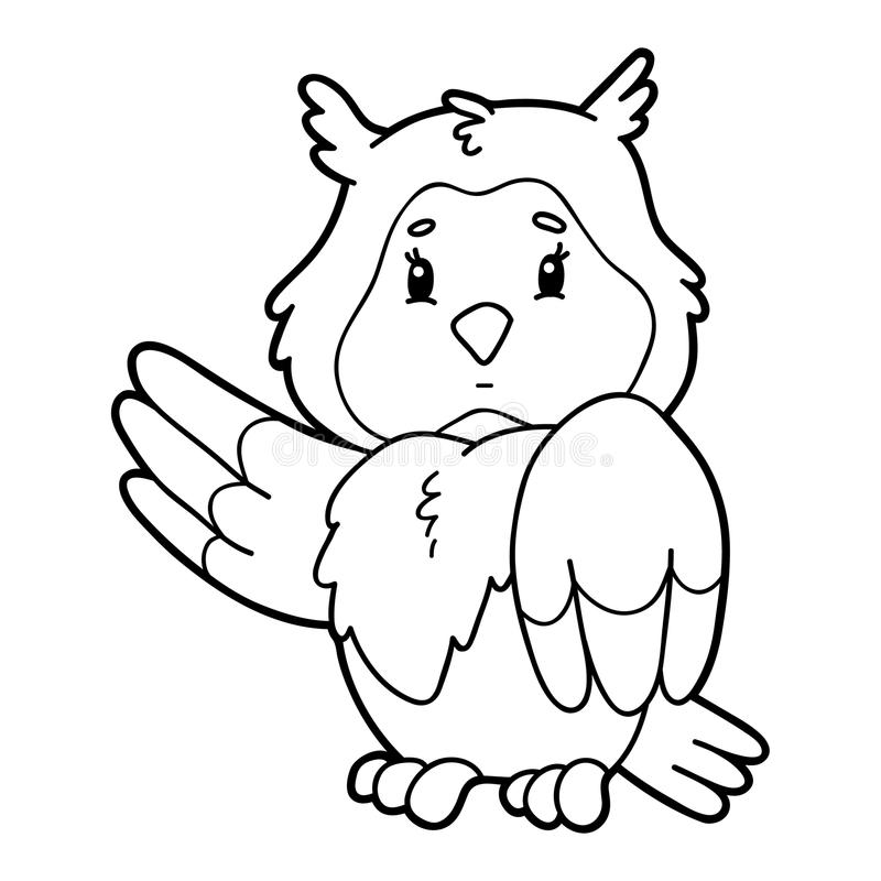 Coloring page cartoon owl stock illustration
