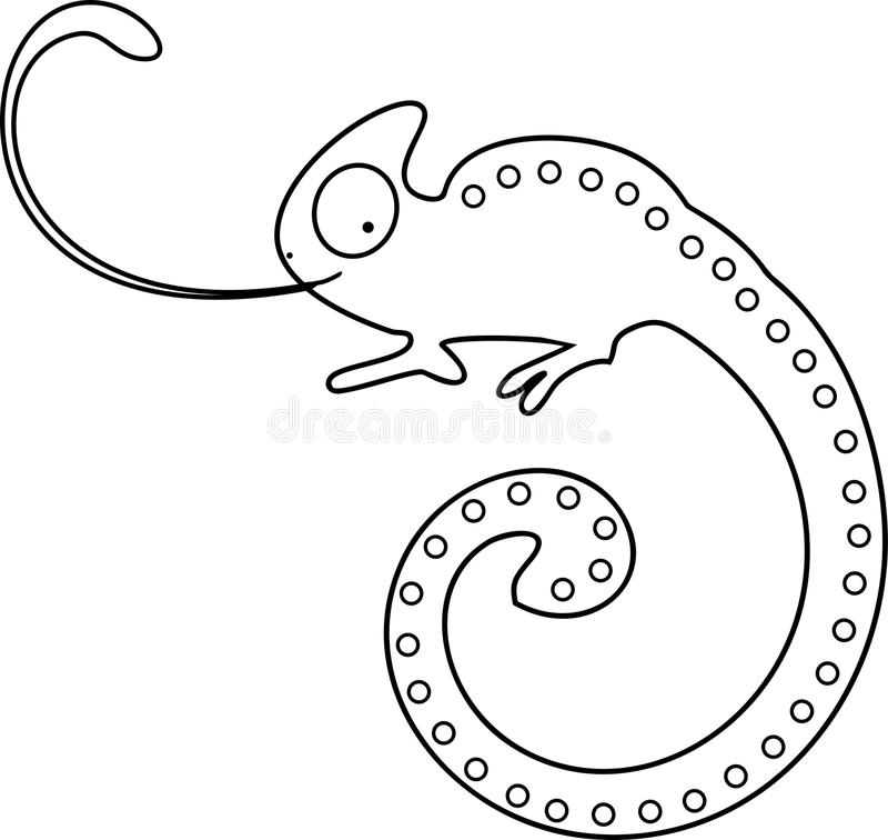 Coloring page. Chameleon with sticking tongue out vector illustration