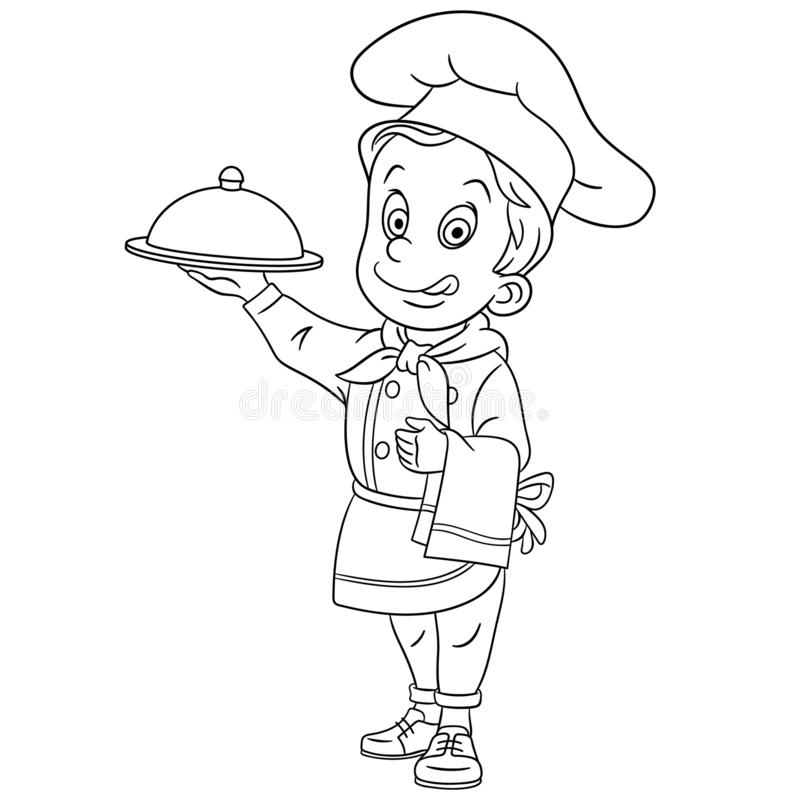 coloring page chef chief cook colouring page cute cartoon chef chief cook serving dish childish design kids coloring