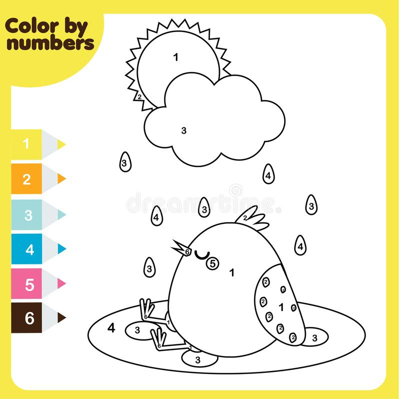 Coloring Page With Chicken. Color By Numbers, Printable Worksheet ...