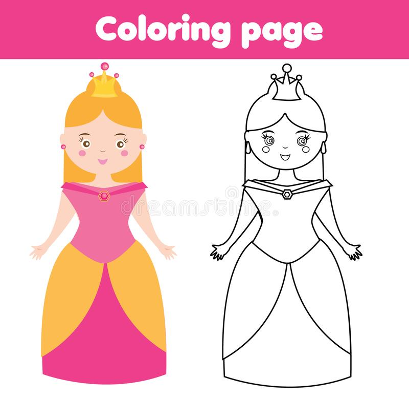 Download Coloring Page For Children Princess Drawing Kids Game Printable Activity Stock Vector