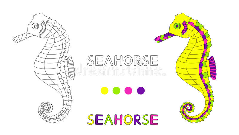 Coloring page for children with seahorse and hand draw letters. vector illustration