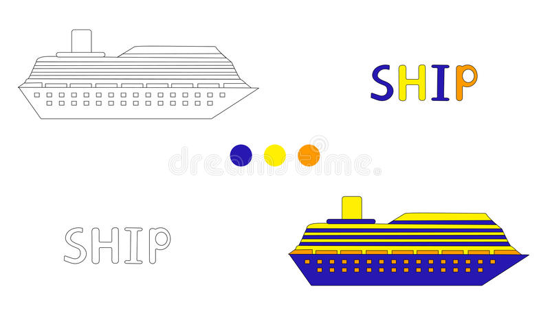 Coloring page for children with ship and hand draw letters. stock illustration
