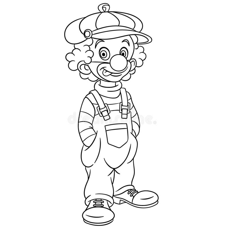 Coloring page with clown royalty free illustration