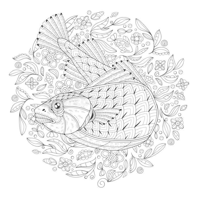Coloring Page with Cod. Freehand drawing with a cod in the midst of algae. Image for coloring pages. Coloring book stock illustration