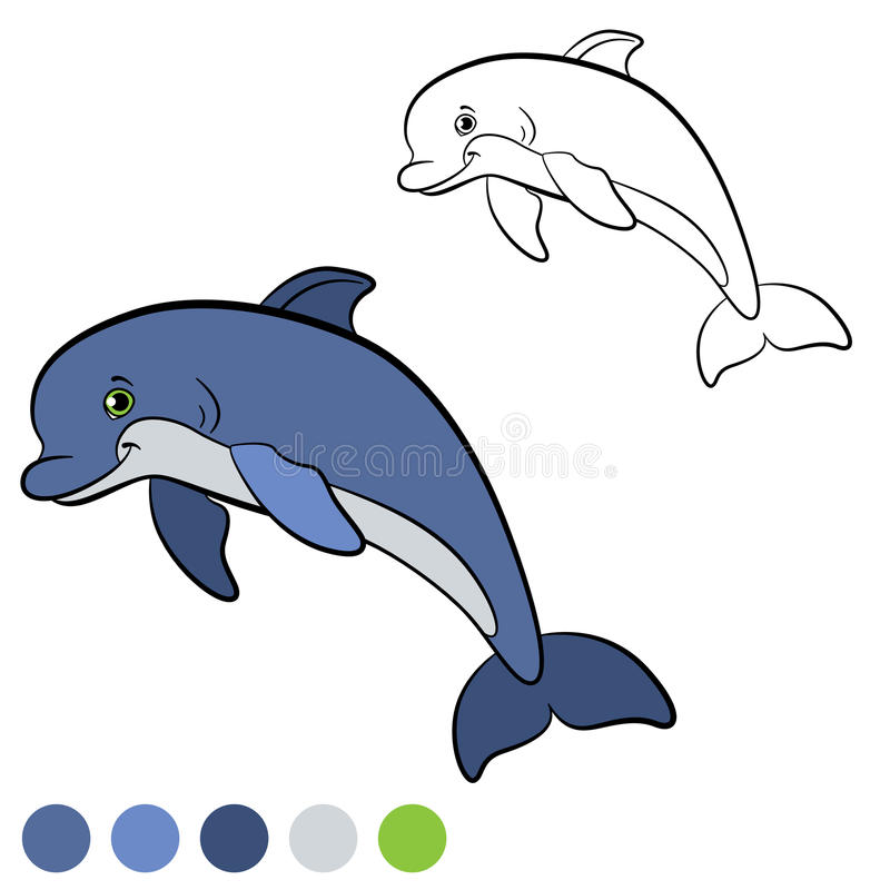 Coloring page. Color me: dolphin. Little cute dolphin smiles. Coloring page. Color me: dolphin. Little cute dolphin jumps and smiles. He is happy vector illustration