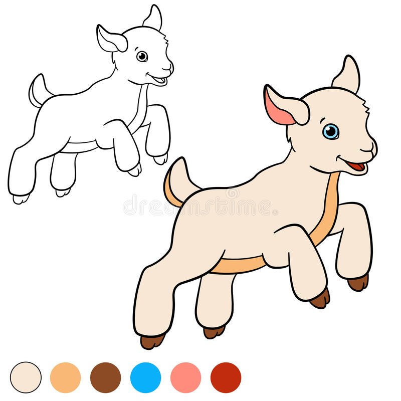 Download Coloring Page Color Me Goat Little Cute Baby Stock Vector
