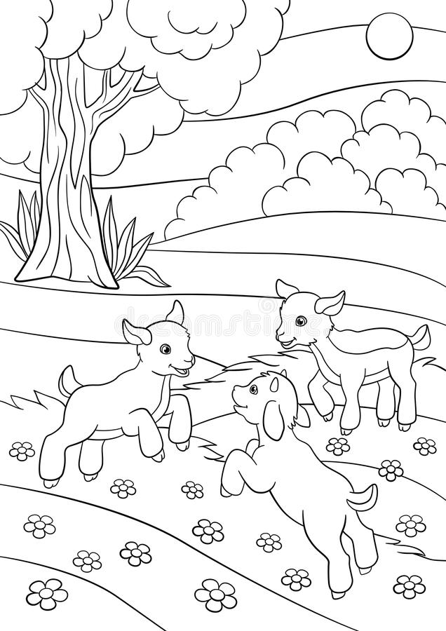 Coloring Page. Color Me: Goat. Little Cute Baby Goat. Stock Vector ...