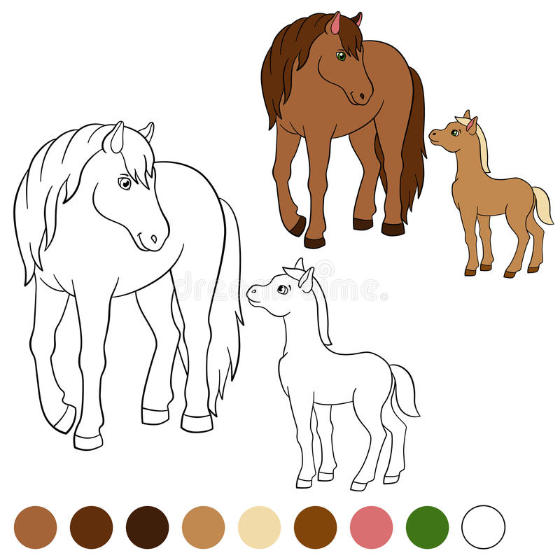 coloring page color me horse mother horse foal her little cute