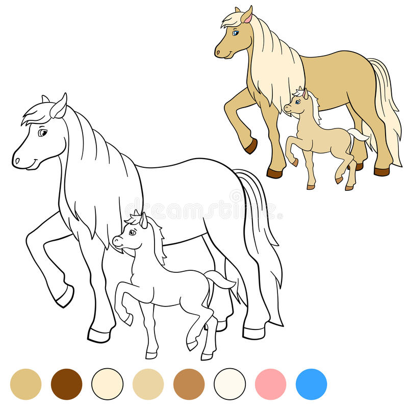 coloring page color me horse mother horse foal walks her little cute