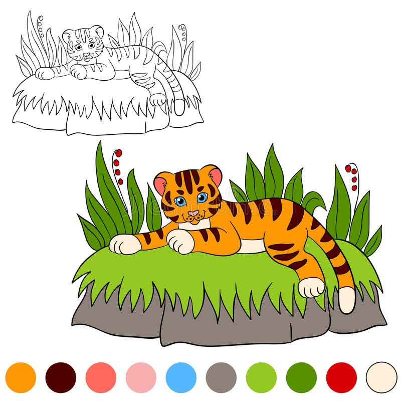 Coloring page. Color me: tiger. Little cute baby tiger smiles. Coloring page. Color me: tiger. Little cute baby tiger lays and smiles vector illustration