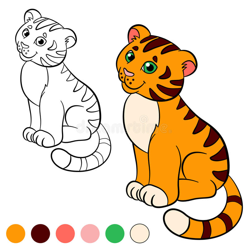 Coloring page. Color me: tiger. Little cute baby tiger smiles. Coloring page. Color me: tiger. Little cute baby tiger sits and smiles vector illustration