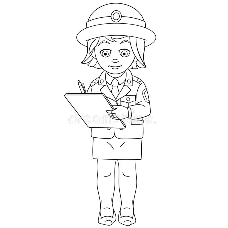 coloring page coloring picture cartoon police woman writing report childish design kids activity colouring book