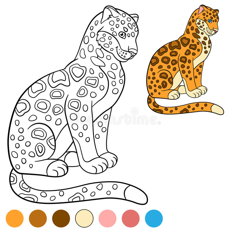 Coloring page with colors. Cute jaguar smiles. Coloring page with colors. Cute jaguar sits and smiles vector illustration