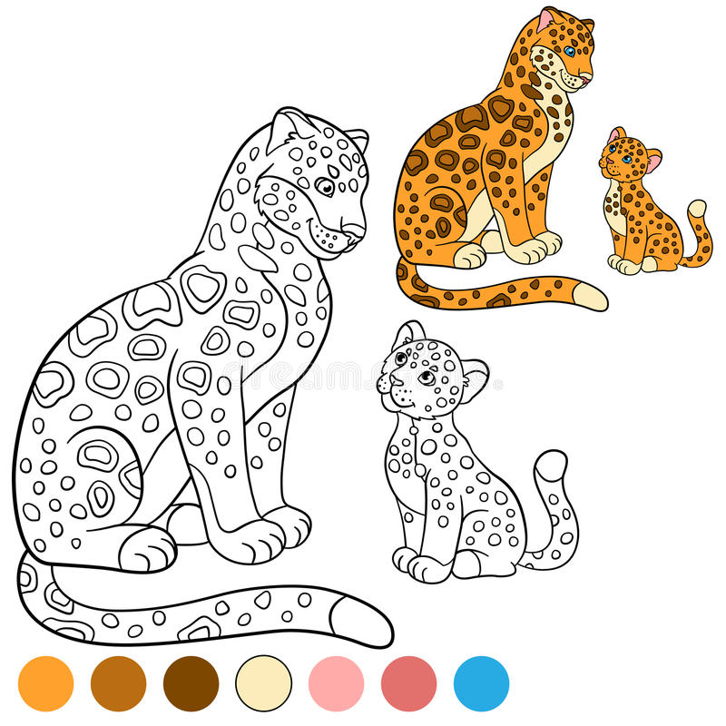 Coloring page with colors. Cute jaguar smiles. Coloring page with colors. Cute jaguar sits and smiles royalty free illustration