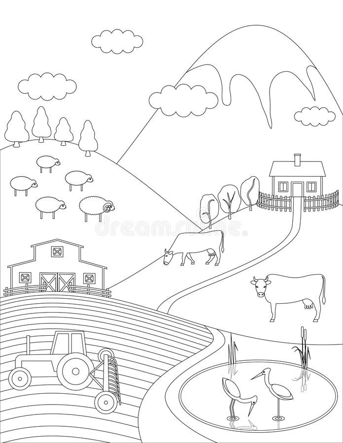 Download Coloring Page Countryside Stock Vector Illustration Of Building