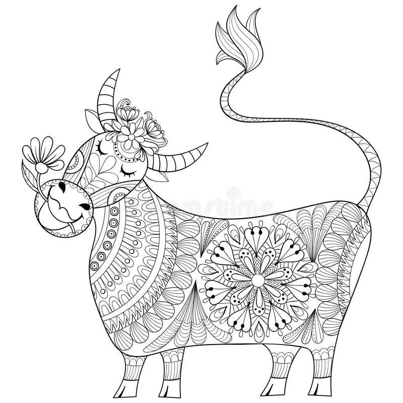 Coloring page with Cow, zenart stylized hand drawing Milker illustration, tribal totem, mascot, doodle animal for art therapy boo vector illustration
