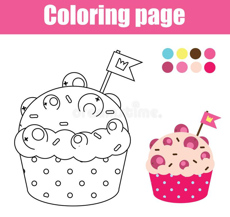 Coloring Page With Cupcake. Drawing Kids Game. Printable Activity ...