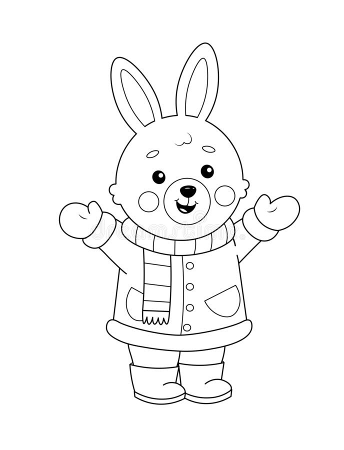 Coloring Page Of A Cute Cartoon Bunny In Winter Clothes Coloring Book For Kids Stock Vector Illustration Of Christmas Coat 199765959