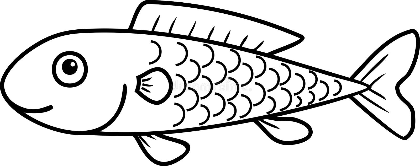 Coloring page with cute cartoon fish stock illustration