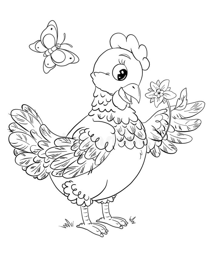 Coloring page with cute cartoon hen holding a  flower on a white background vector illustration