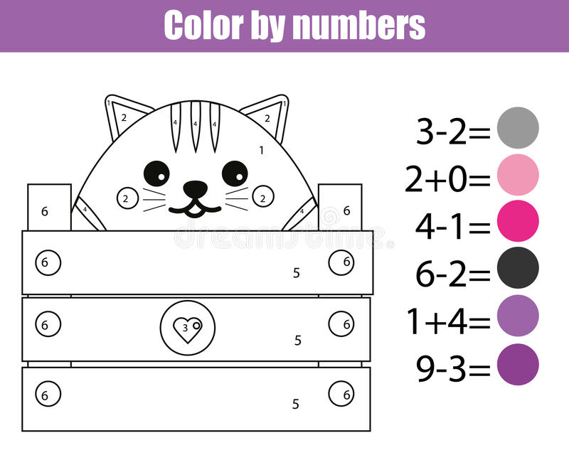 Download Coloring Page With Cute Cat Character Color By Numbers Educational Children Game Drawing