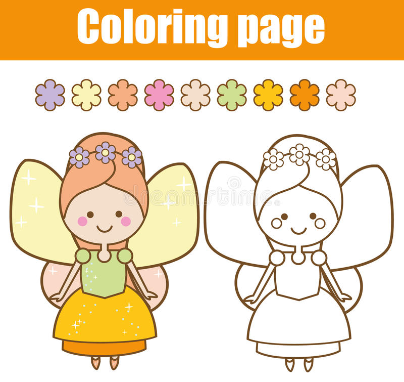 Coloring page with cute fairy character in kawaii style. Drawing kids game. Printable activity. Coloring page with cute winged fairy in kawaii style. Color the vector illustration