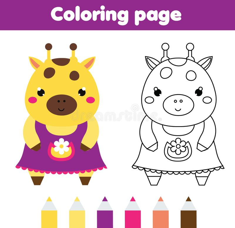 coloring page cute giraffe drawing kids activity printable toddlers fun worksheet