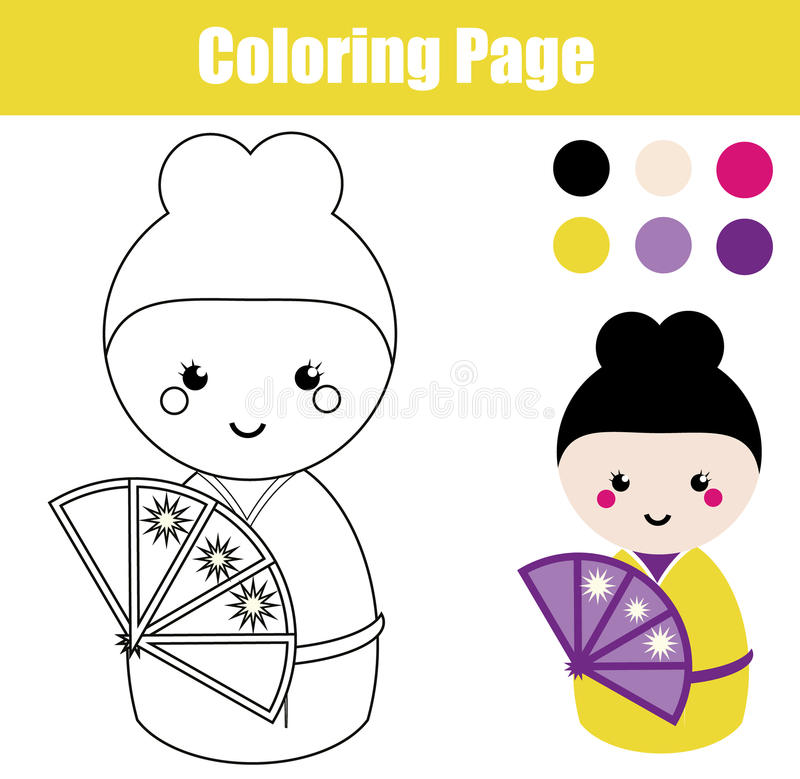 coloring page with cute japanese kokeshi doll children educational game drawing activity stock. Black Bedroom Furniture Sets. Home Design Ideas