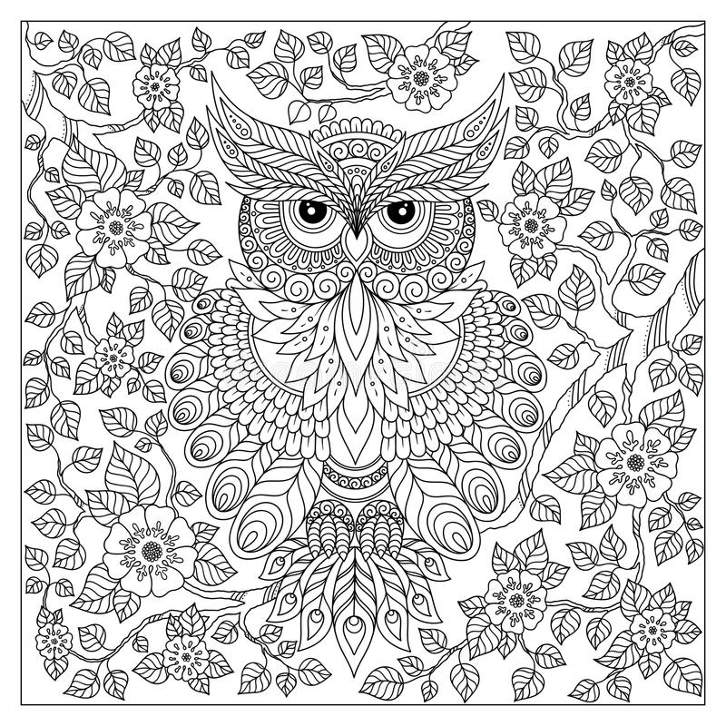 Coloring page with cute owl and floral frame stock illustration