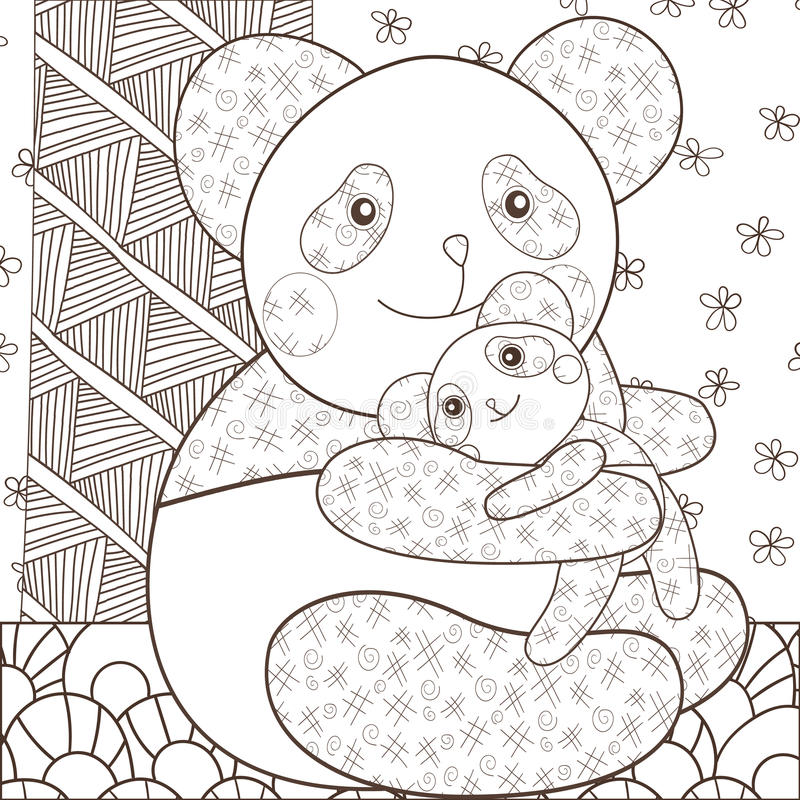 coloring page panda hugging his baby whimsical line