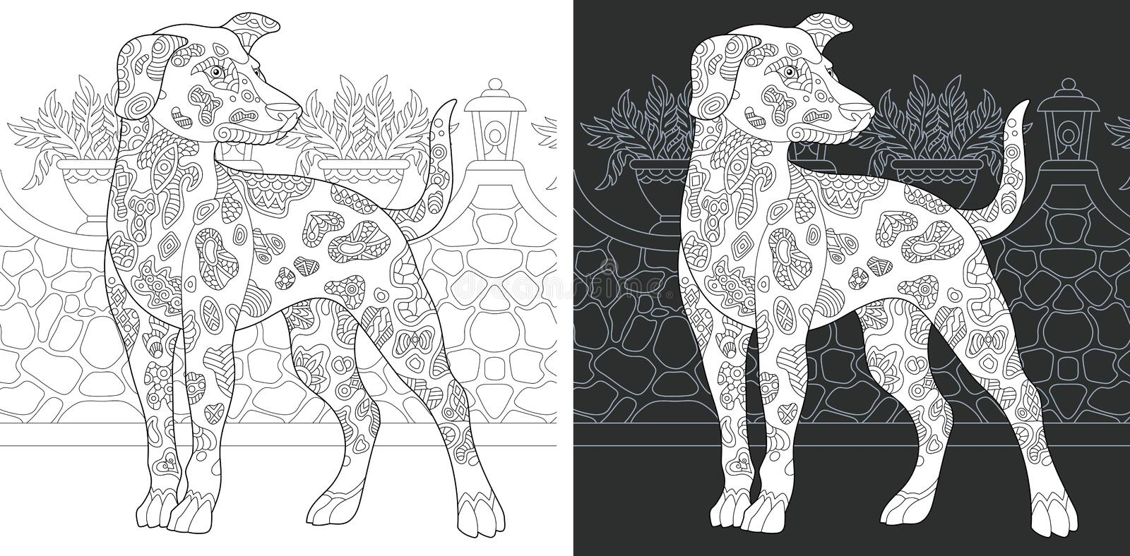 Coloring page with dalmatian dog royalty free stock photography