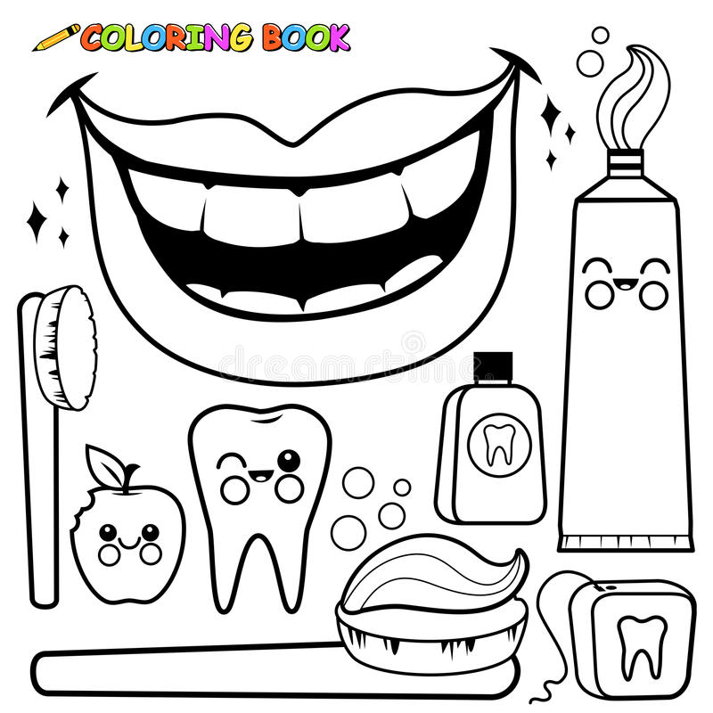 healthy teeth coloring pages - coloring page dental hygiene vector set stock vector