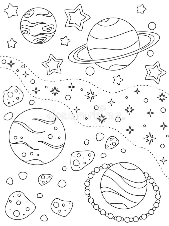 Far Deep Space Fantasy Nebula With Planets Stock ...