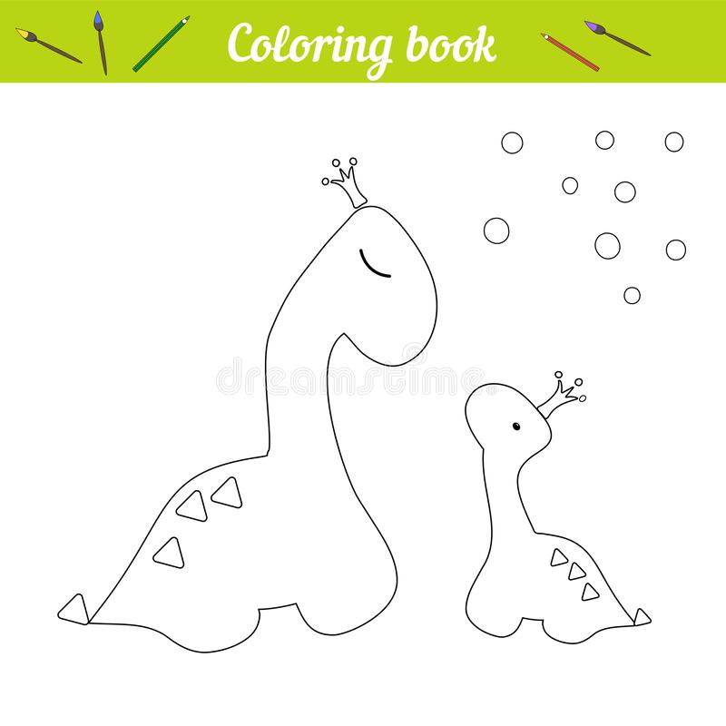 Coloring page Dino princess poster. Cartoon outline draw. Educational game for children. Two dinosaurs in crowns. Little dinosaur stock illustration