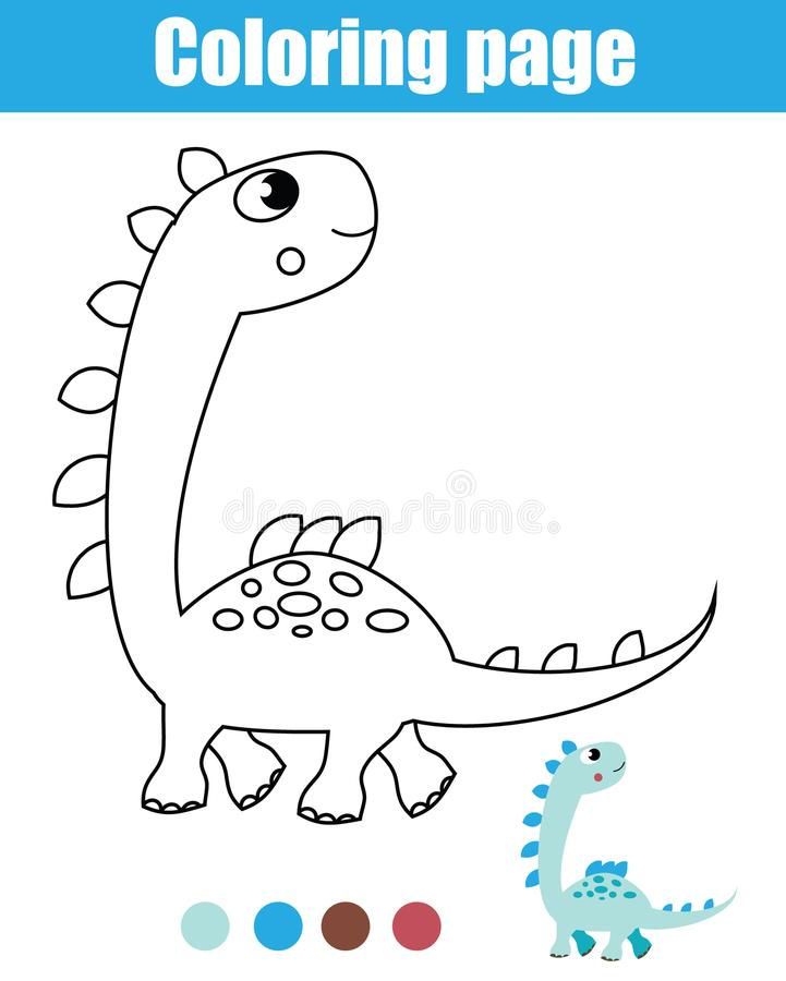 Download Coloring Page With Dinosaur. Drawing Kids Activity. Printable  Toddlers Fun Stock Vector