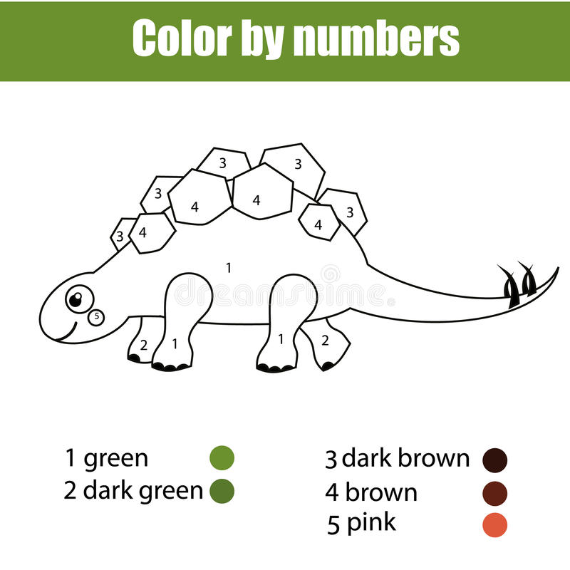 Coloring Page With Dinosaur Stegosaurus. Color By Numbers ...