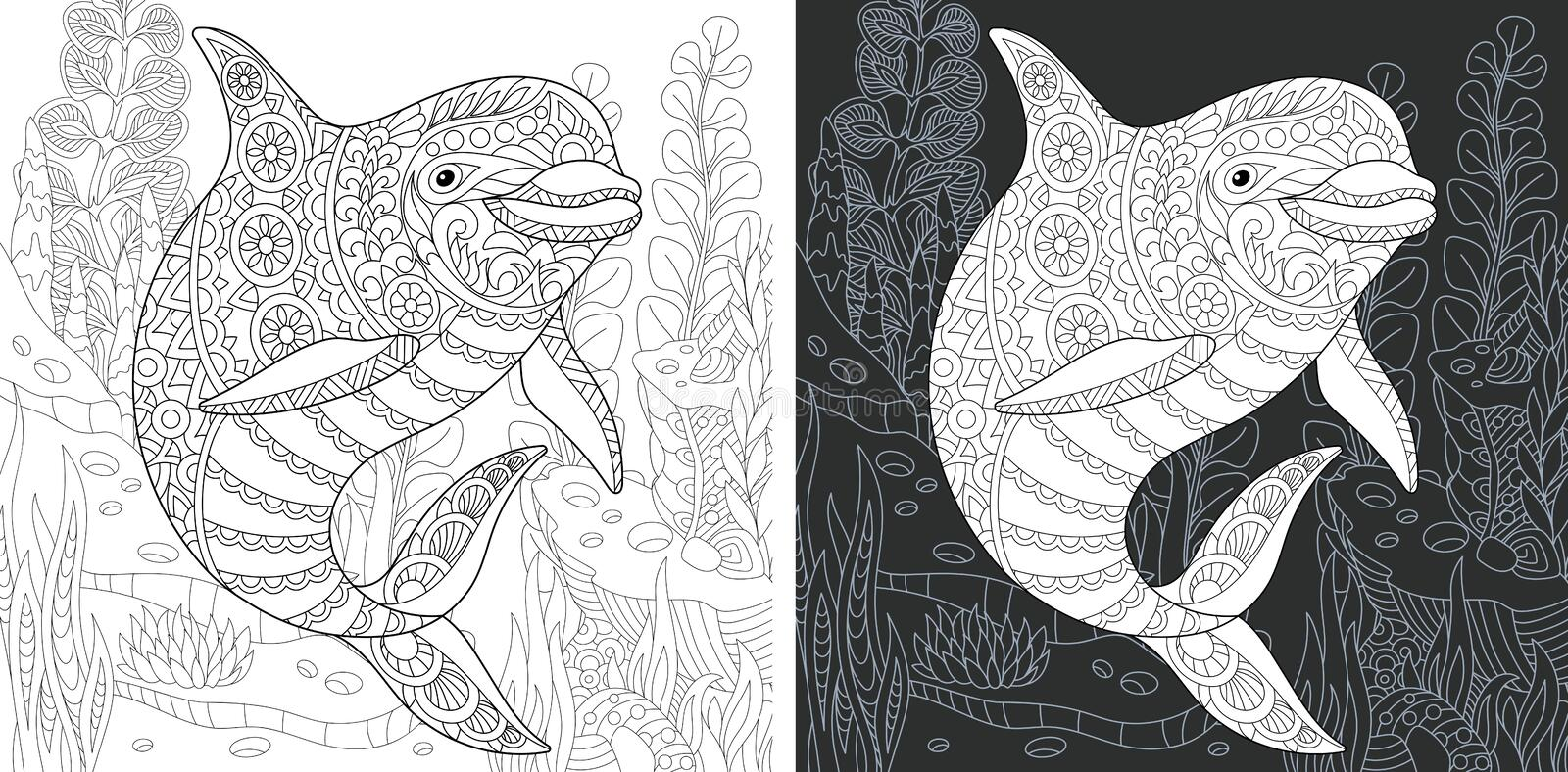 Coloring page with dolphin vector illustration