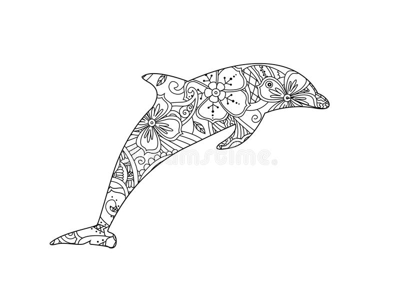 Download Coloring Page With Dolphin On White Background Stock Vector