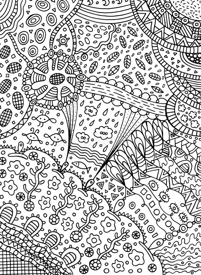 Coloring page in doodle abstract style. Vector art for adult col. Oring book with nature elements - leaves, clouds, sea, sky, flowers royalty free illustration