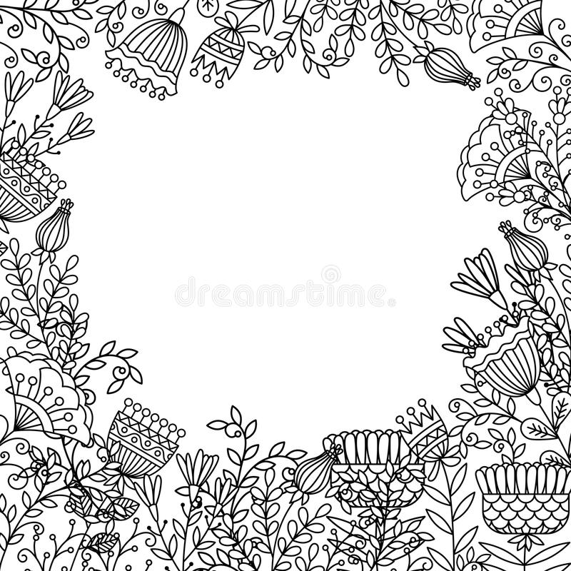 Download Coloring Page With Doodle Flowers Frame Stock Vector