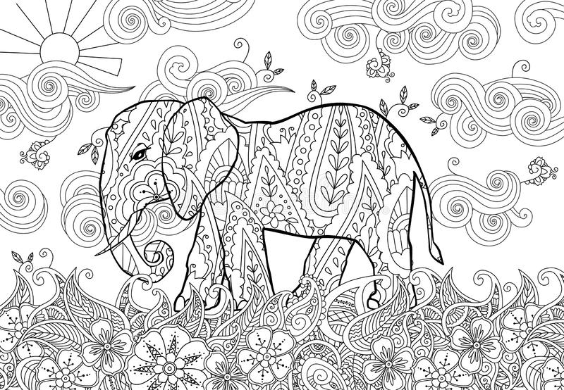 Coloring page with doodle style elephant on the meadow in zentangle inspired style. Coloring book for adult and older children. Editable vector illustration royalty free illustration