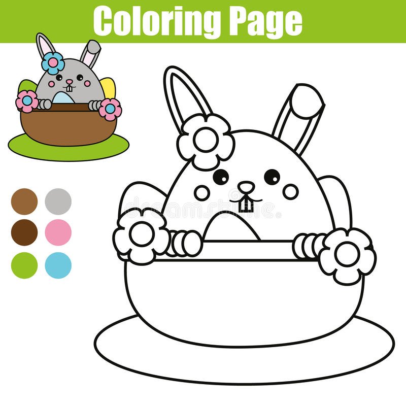 Download Coloring Page With Easter Bunny Character Printable Worksheet Educational Children Game Drawing