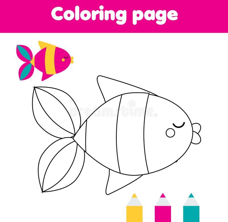 Coloring page with fish. Drawing kids activity for toddlers vector illustration