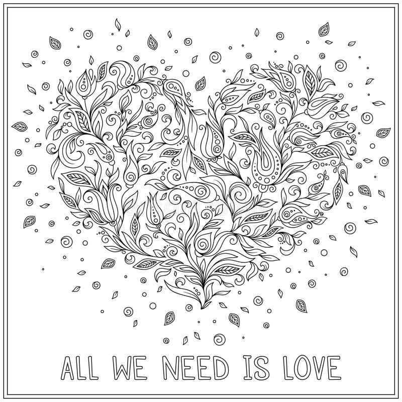 download coloring page flower heart st valentines day stock vector illustration 65689927