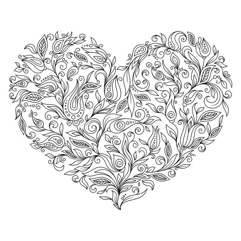 Download Coloring Page Flower Heart St Valentines Day Stock Illustration